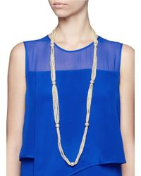 Kenneth Jay Lane | White Multi Strand Pearl Long Necklace | Lyst