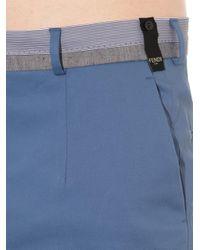 Fendi | Blue Contrast-Waistband Slim-Leg Trousers for Men | Lyst