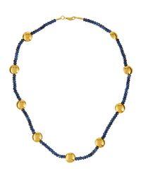 Gurhan | Blue 24k Sapphire Gleam Rain Lentil Station Necklace | Lyst