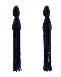 Oscar de la Renta | Blue Navy Long Beaded Tassel Clip-on Earrings | Lyst