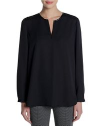 NIC+ZOE | Black Leatherette-trimmed Satin Top | Lyst