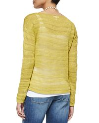 Eileen Fisher - Metallic Long-sleeve Organic Linen Slub Top - Lyst