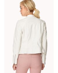 Forever 21 | White Perforated Biker Jacket | Lyst
