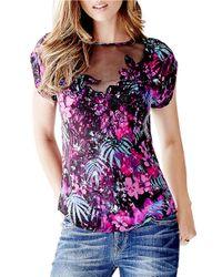 Guess | Pink Floral Print Mesh-yoke Top | Lyst