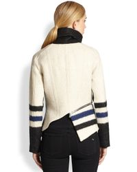 Yigal Azrouël - Black Elongated Stripe Moto Jacket - Lyst