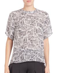 Opening Ceremony - Black Silk Komondor-print Top - Lyst