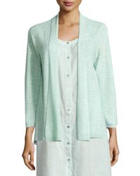 Eileen Fisher | Blue 3/4-sleeve Organic Linen Cotton Cardigan | Lyst