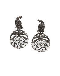 BCBGMAXAZRIA - Black Pave Peacock Earrings - Lyst