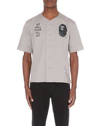 A Bathing Ape | Gray Ape-face Cotton Baseball Shirt for Men | Lyst