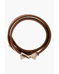 Valentino - Brown Tan Leather Hinged Stud Bracelet - Lyst