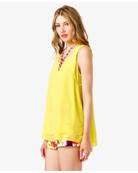 Forever 21 - Yellow Layered Georgette Top - Lyst