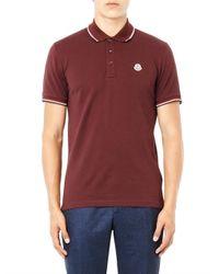 Moncler - Red Cotton-Piqué Polo Shirt for Men - Lyst