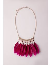 Missguided - Purple Feather Statement Necklace - Lyst