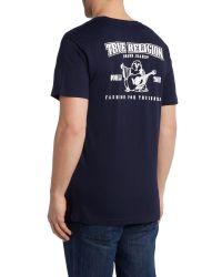 True Religion Blue Regular Fit Traditional Logo T Shirt for men