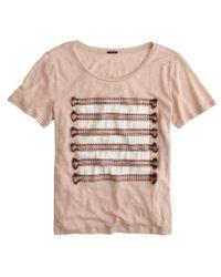 J.Crew - Natural Linen Embroidered Tassel Striped T-shirt - Lyst