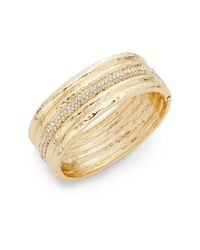 Saks Fifth Avenue - Metallic Pavé-Accent Hinged Bangle Bracelet - Lyst