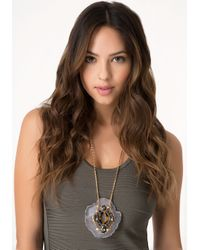 Bebe - Gray Agate & Crystal Necklace - Lyst