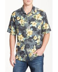 Tommy Bahama | Black 'beach Front Hibiscus' Floral Print Silk Camp Shirt for Men | Lyst