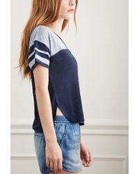 Forever 21 | Blue Varsity-striped Linen Tee | Lyst