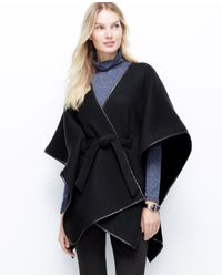 Ann Taylor - Black Faux Leather Trim Belted Cape - Lyst