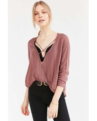 Silence + Noise | Brown Mayfair Plunge Surplice Top | Lyst