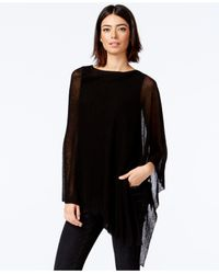 Eileen Fisher | Black Asymmetrical Poncho Sweater | Lyst