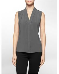 Calvin Klein - Gray White Label V-neck Sleeveless Top - Lyst
