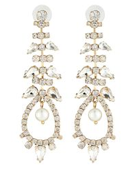Fragments - White Pearly Crystal Chandelier Earrings - Lyst