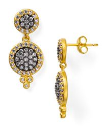 Freida Rothman | Metallic Double Pave Disc Drop Earrings | Lyst