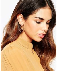 ASOS - Metallic Geo Enamel Drop Earrings - Lyst