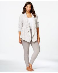 DKNY | Gray Plus Size Cozy Wrap And Leggings Set | Lyst
