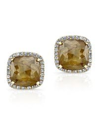 Anne Sisteron | 14kt Yellow Gold Diamond Slice Square Stud Earrings | Lyst