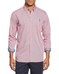 Ted Baker | Red 'burcin' Slim Fit Dobby Sport Shirt for Men | Lyst