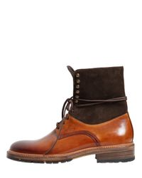 Harris - Brown Washed Leather & Suede Lace-Up Boots for Men - Lyst