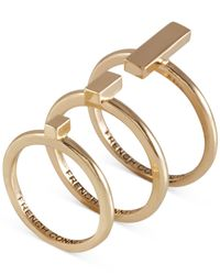 French Connection | Metallic Bar Ring Set | Lyst