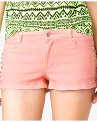 Forever 21 - Pink Studded Denim Shorts - Lyst