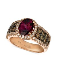 Le Vian - Pink 14k Rose Gold Garnet 178 Ct Chocolate Diamond 34 Ct Tw and White Diamond 38 Ct Tw Oval - Lyst