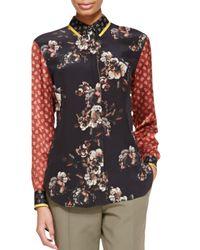 Jason Wu | Red Sleeveless Ruffled Floral-print Top | Lyst