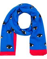 KENZO - Blue Cobalt Eye Print Scarf - Lyst