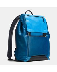 COACH - Blue Manhattan Backpack In Sport Calf Leather for Men - Lyst