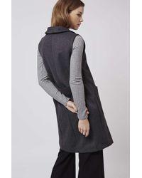 TOPSHOP - Gray Shawl Collar Sleeveless Jacket - Lyst