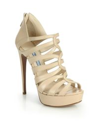 Prada | Natural Caged Leather Platform Sandals | Lyst