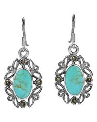 Aeravida - Blue Vintage Inspiration Filigree Marcasite Turquoise Sterling Silver Dangle Earrings - Lyst