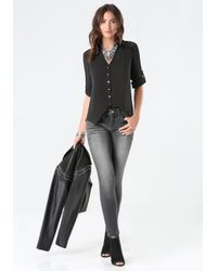 Bebe - Black Fiorella Button Back Shirt - Lyst