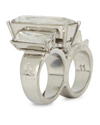 Alexander McQueen | Metallic Silver Plated Embellished Double Ring | Lyst