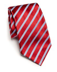 Ike Behar | Red Striped Silk Tie for Men | Lyst