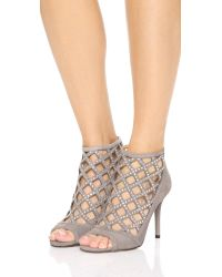 MICHAEL Michael Kors | Gray Yvonne Open Toe Booties - Pearl Grey | Lyst