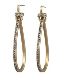 Paige Novick | Metallic Pave Teardrop Hoop Earrings | Lyst