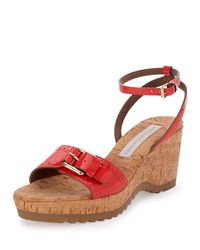 Stella McCartney - Pink Linda Faux-Patent Leather Cork Sandals - Lyst