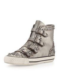 Ash - Metallic Viking Studded Buckled Hightop Sneaker Silver - Lyst
